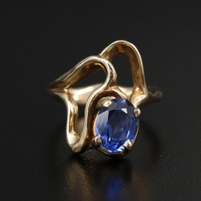 14K Yellow Gold Sapphire Freeform Ring