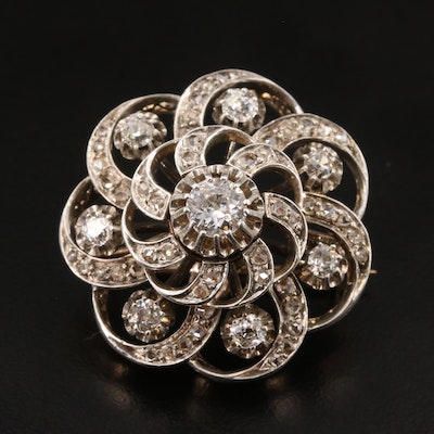 Victorian 14K Gold and Fine Silver 1.56 CTW Diamond Brooch