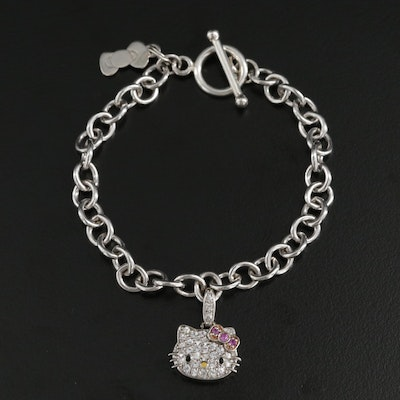 Sanrio Sterling Sapphire, Pink Sapphire and Enamel Hello Kitty® Charm Bracelet