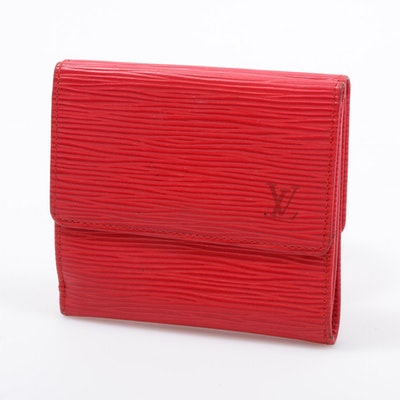 Louis Vuitton Red Epi Leather Bifold Wallet