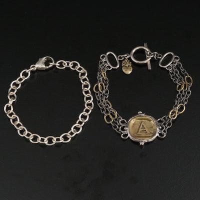 """Sterling Silver Charm Bracelet and """"A"""" Bracelet"""