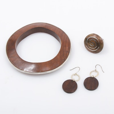 Sterling Silver and Wood Jewelry Including Silpada