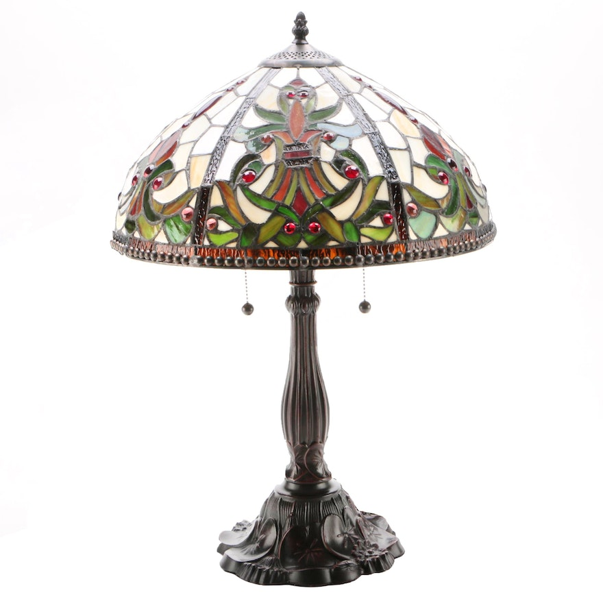 Victorian Style Bronze Patinated Table Lamp with Slag Glass Shade
