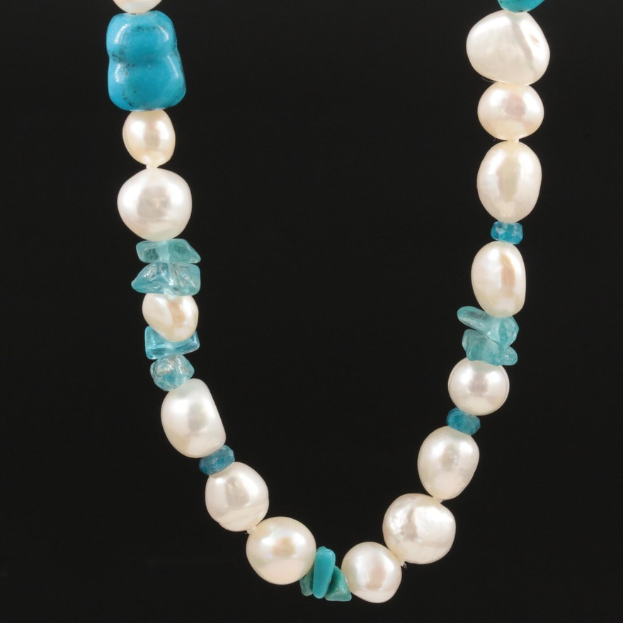 Honora Sterling Silver Cultured Pearl, Apatite and Turquoise Beaded Necklace