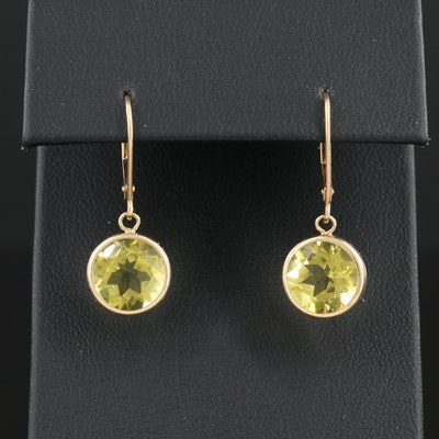 14K Yellow Gold Bezel Set Citrine Dangle Earrings