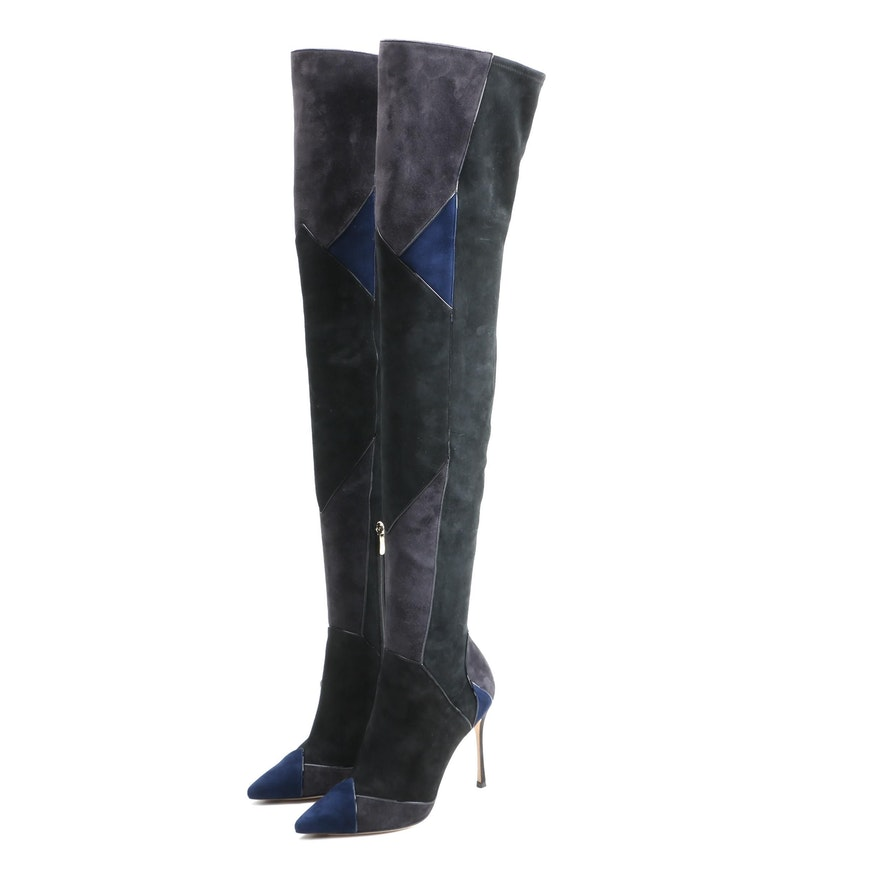 Sergio Rossi Patchwork Suede Thigh High Boots with Box Signed by Susan Lucci