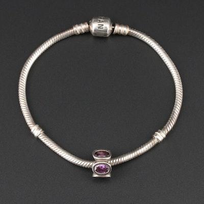 Pandora Sterling Silver Iolite Charm Bracelet