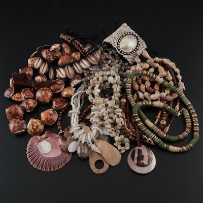 Assorted Shell, Glass and Wood Necklaces and Bracelets