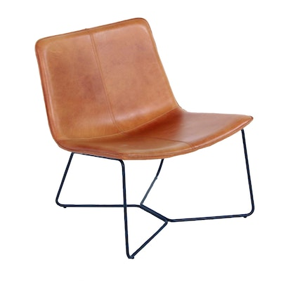 "West Elm ""Slope"" Leather Lounge Chair in ""Saddle"""
