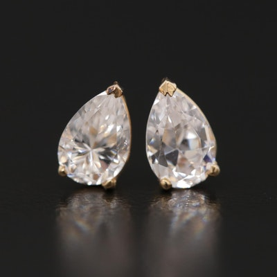 14K Yellow Gold Cubic Zirconia Stud Earrings