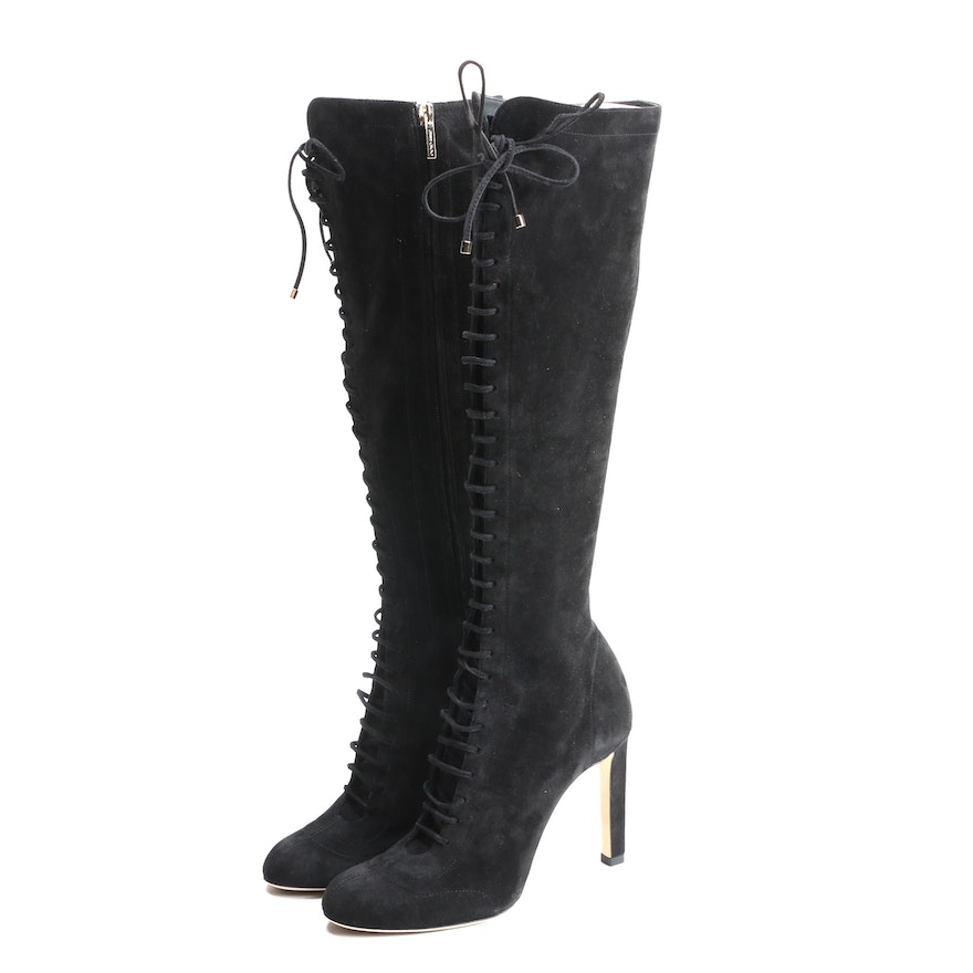 Jimmy Choo Black Suede Knee High Lace-Up Boots with Susan Lucci Signed Dust Bag