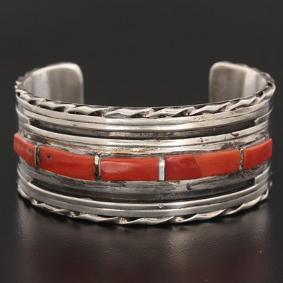 Sterling Silver Coral Cuff Bracelet