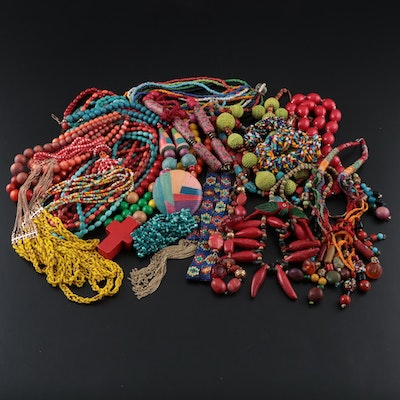 Assorted Bead Jewelry Including Vintage Wood Parrot and  Pepper Necklace