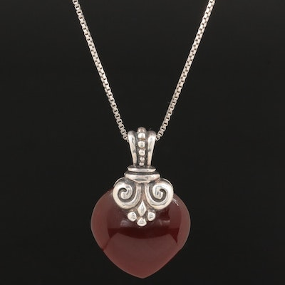 Sterling Silver Carnelian Pendant Necklace