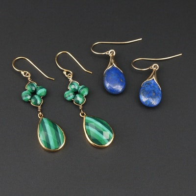 Sterling Silver Lapis Lazuli and Malachite Drop Earrings