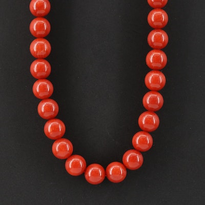 Coral and Cubic Zirconia Bead Necklace
