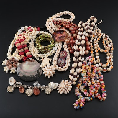 Assorted Shell, Horn and Celluloid Jewelry