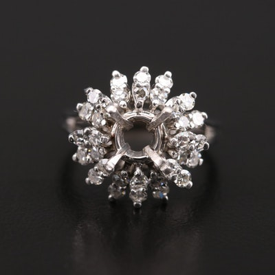 14K White Gold Diamond Semi-Mount Cluster Ring