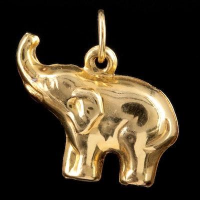14K Yellow Gold Elephant Charm