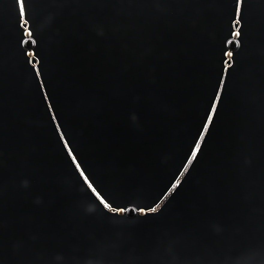 Sterling Silver Black Onyx Station Necklace