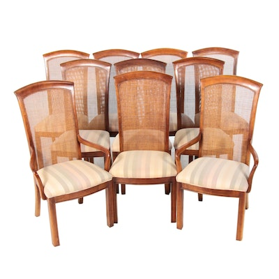 Ten Bernhardt Walnut-Stained and Cane-Backed Dining Chairs, Late 20th Century