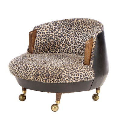 Mid Century Modern Upholstered Barrel Back Arm Chair, Mid-20th Century