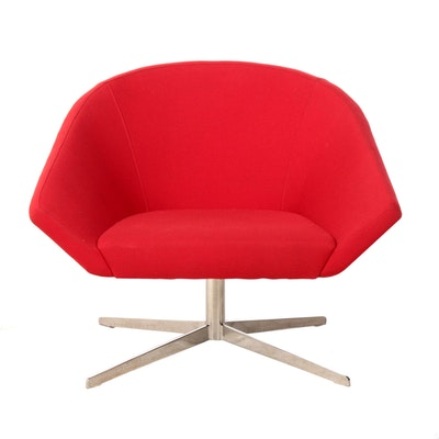 Remy Red Upholstered Swivel Lounge Chair by Bernhardt