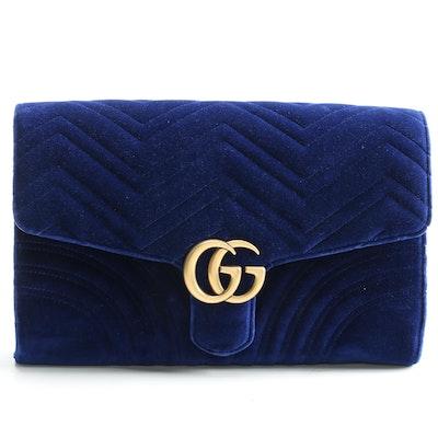Gucci GG Blue Velvet Marmont Clutch with Susan Lucci Signed Shopper Bag