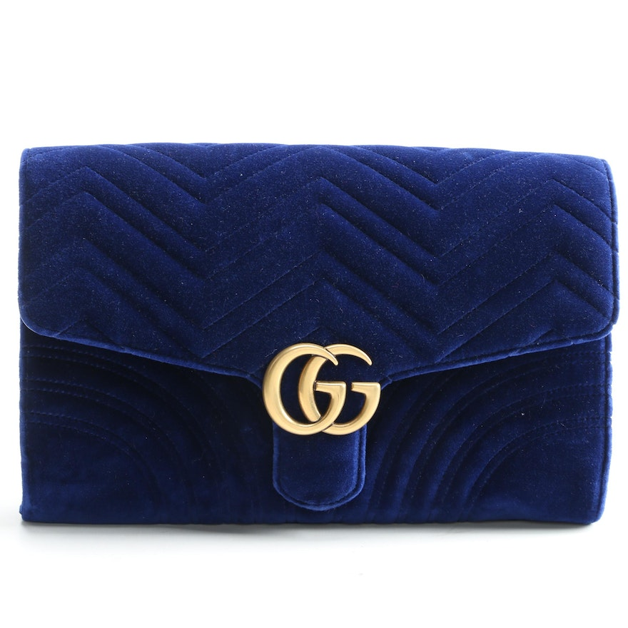 Gucci GG Blue Velvet Marmont Clutch with Susan Lucci Signed Shopper Bag