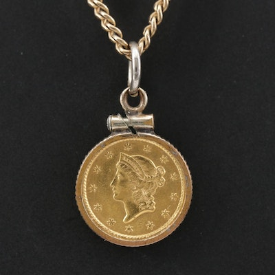 Pendant Necklace with 1853 Liberty Head Gold Dollar Coin