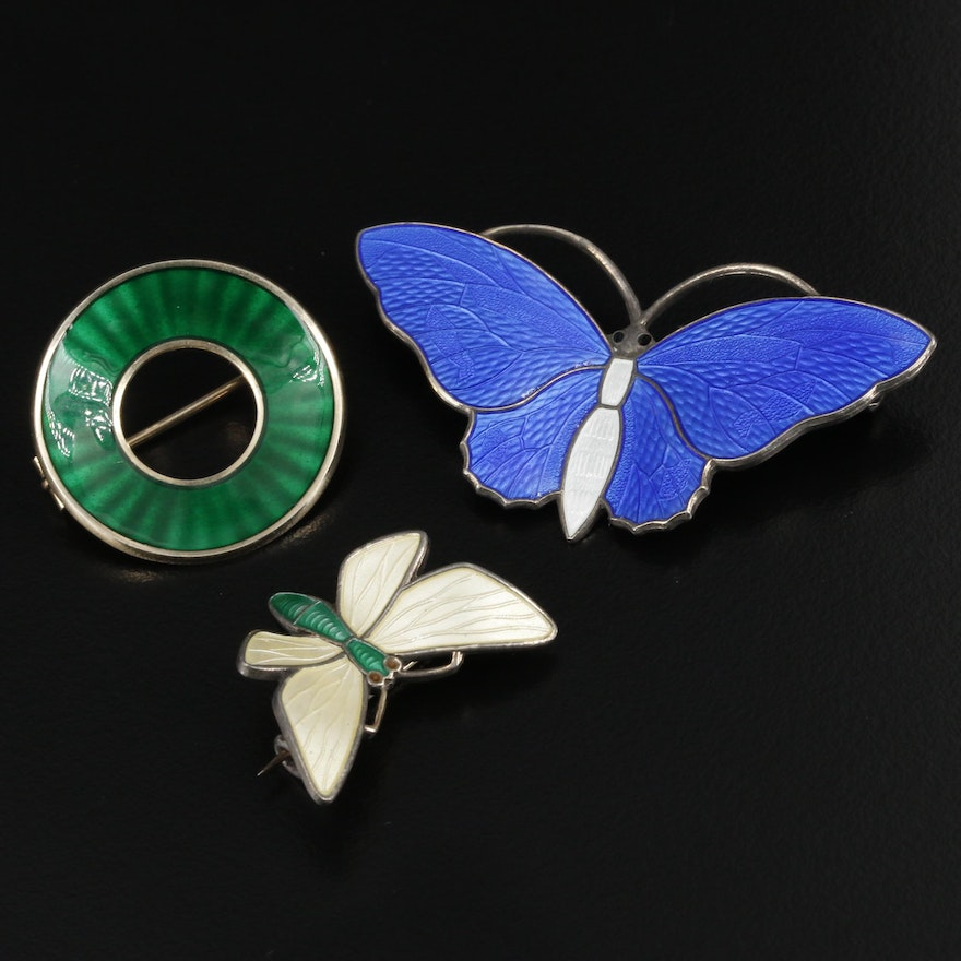 Norwegian Modernists Aksel Holmsen and Einar Modahl Sterling Enamel Brooches