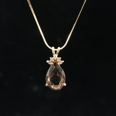14K Yellow Gold Smoky Quartz and Diamond Pendant on Serpentine Chain Necklace