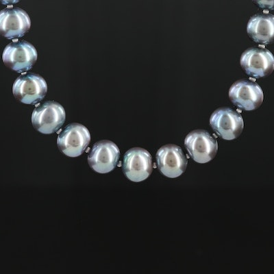 Individually Knotted Pearl Necklace with 14K White Gold Clasp