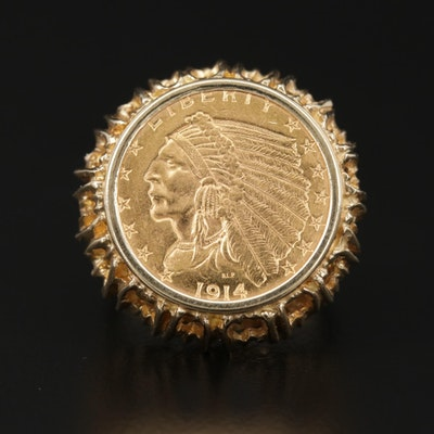 14K Gold Ring with 1914 Indian Head $2.50 Gold Quarter Eagle Coin