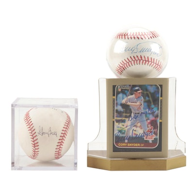 Cory Snyder and Gary Bell Signed Baseballs with a Snyder Signed Card    COA