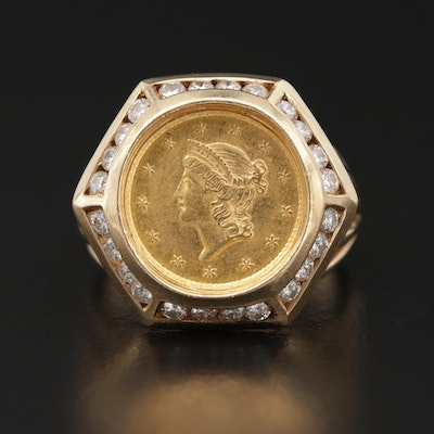 14K Gold and Diamond Ring with 1852 Liberty Head Gold Dollar