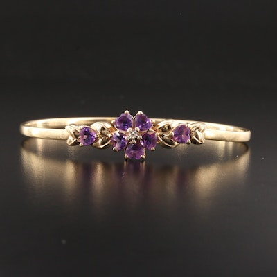 14K Yellow Gold Amethyst and Diamond Floral Bracelet