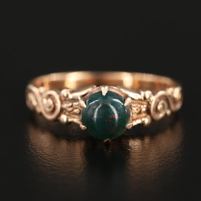 Victorian 9K Yellow Gold Bloodstone Ring