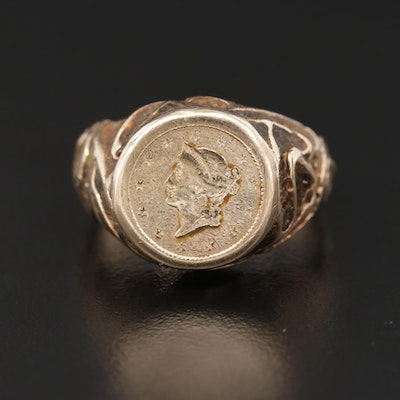 14K Yellow Gold Ring with 1849 Liberty Head Gold Dollar Coin
