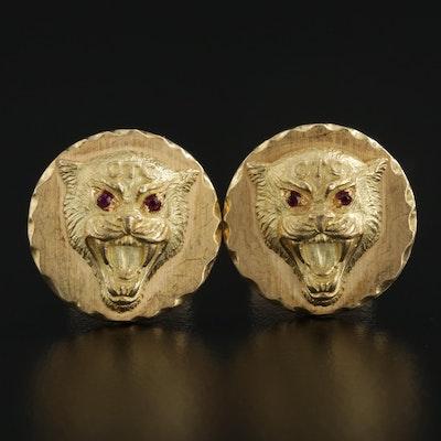 Van Cleef and Arpels 18K Yellow Gold Ruby Wildcat Cufflinks