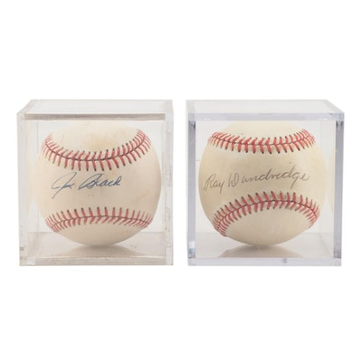 Ray Dandridge and Joe Black Signed Baseballs    COA