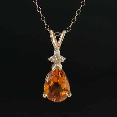 14K Yellow Gold Citrine and Diamond Pendant on 10K Cable Chain Necklace