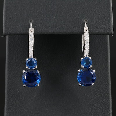 Sterling Silver Cubic Zirconia and Glass Dangle Earrings