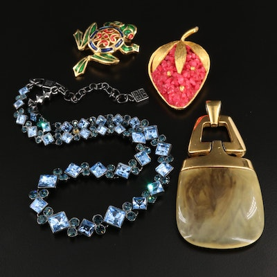 Designer Calcite, Resin and Rhinestone Jewelry with Givenchy and Hattie Carnegie