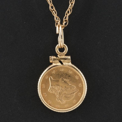 Pendant Necklace with Liberty Head Gold Dollar Coin