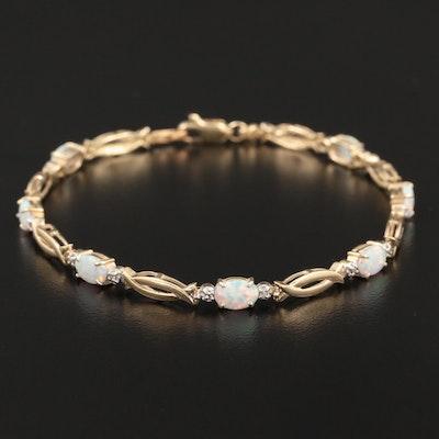10K Yellow Gold Opal and Diamond Bracelet