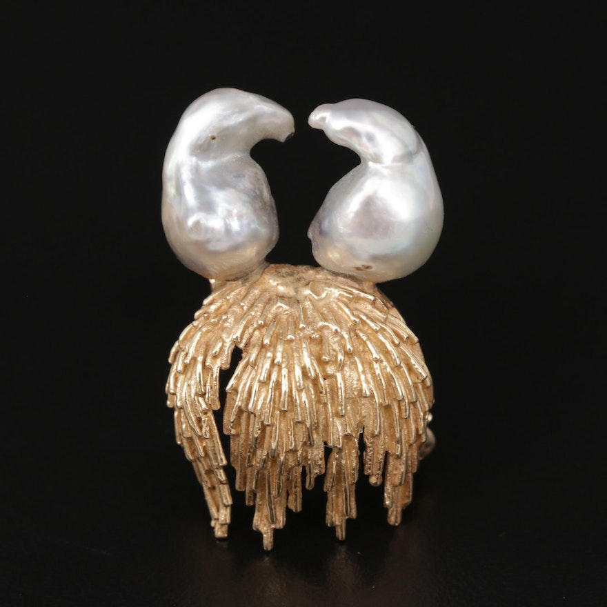 Baroque Pearls Perched Above 14K Yellow Gold Brooch
