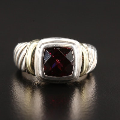 """David Yurman """"Noblesse"""" Sterling Garnet Ring with 14K Yellow Gold Accents"""