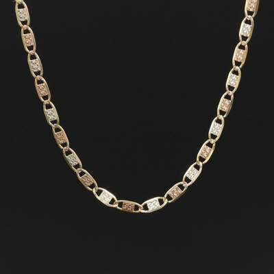10K Yellow Gold Mariner Chain with White and Rose Gold Accents