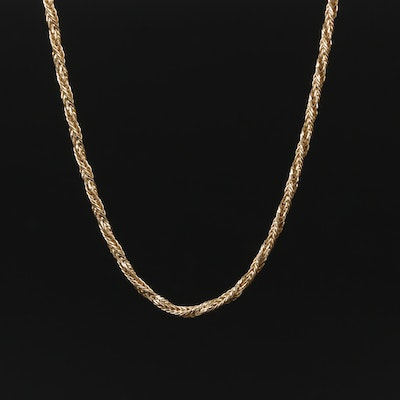 14K Yellow Gold Twisted Wheat Chain Necklace